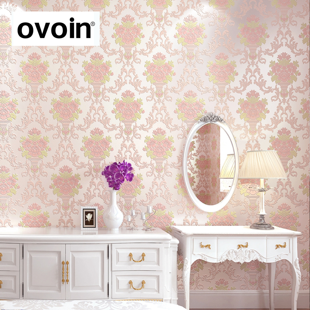 Non Girly Bedroom Ideas: Victorian Romantic Pink Flower Floral Damask Wallpaper For
