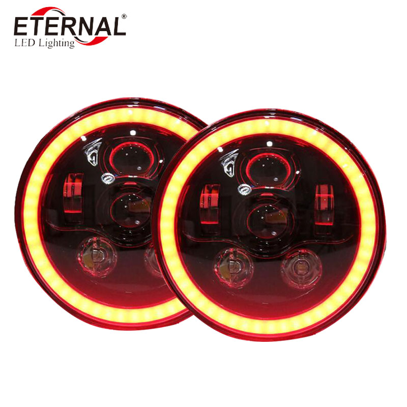 free shipping 2pcs x 60W 7 inch RGB led motorcycle headlight with remote control for Harley Dyna HONDA SUZUKI GS400 Yamaha BMW 7 inch motorcycle front daymaker projector led headlight chrome housing bucket for harley yamaha honda suzuki 7 round headlamps