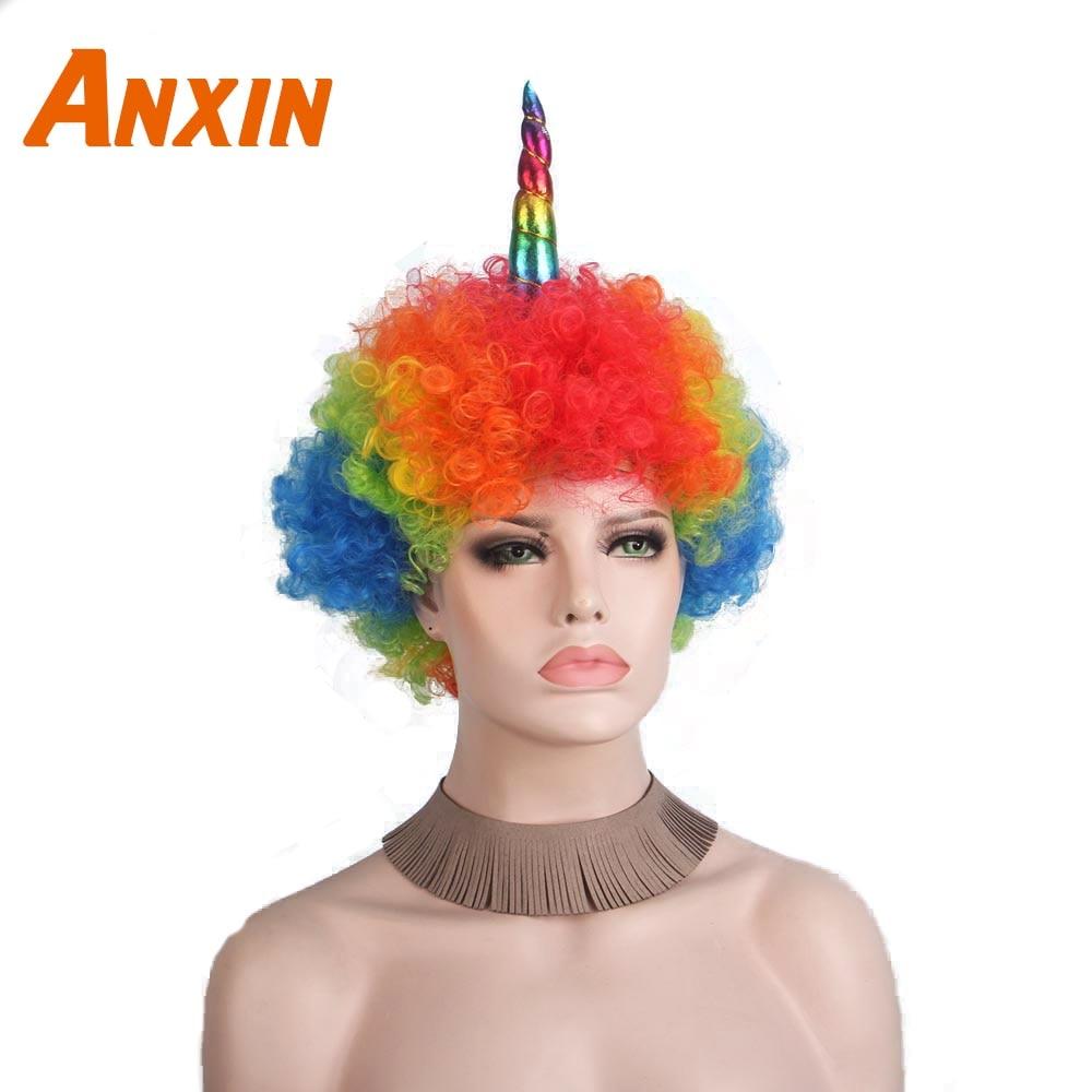 Anxin Cosplay Clown Unicorn Parykker til sorte kvinder Mænd Farverige Afro Paryk Hår Halloween-9400