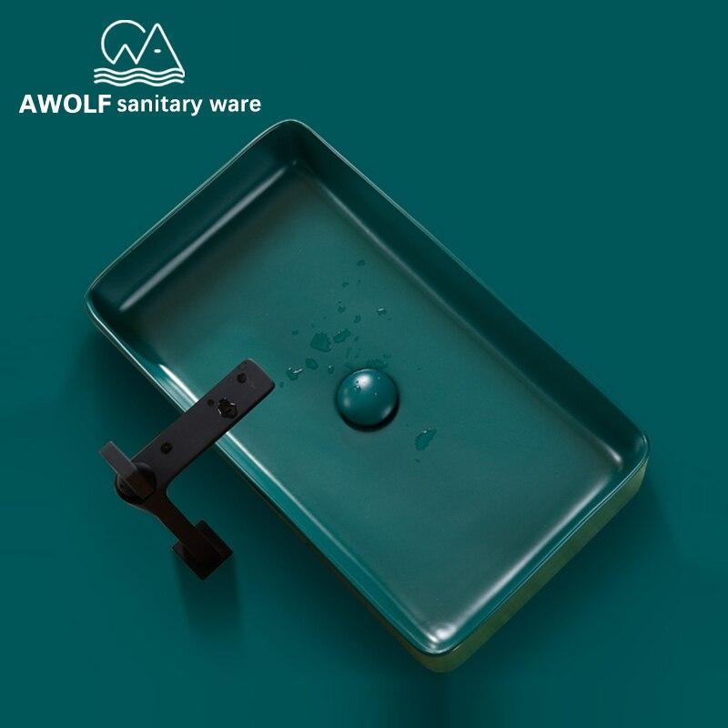 Bathroom Sinks Art Ceramic Vessel Hand Made Luxury Modern Dark Green Washing Basin Sink With Pop Up Drain Solf HoseSet AM802 - 2