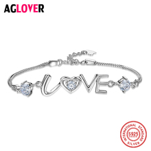 цена Real 925 Sterling Silver Love Charms Austrian Crystal Bracelet for Women Adjustable Link Chain Bracelets Bangle Fashion Jewelry