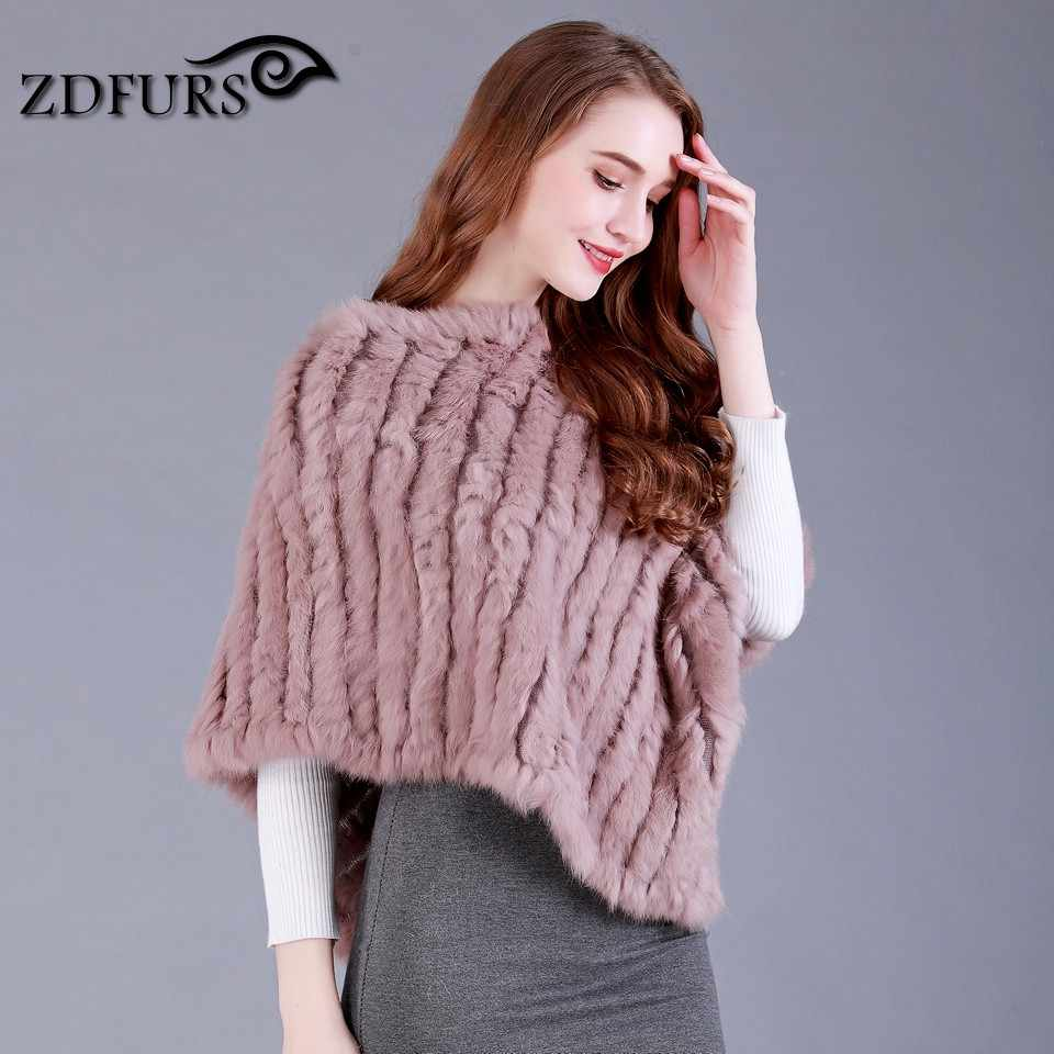 69f2a212d ... ZDFURS * Real Knitted Rabbit Fur Poncho Wrap Pashmina scarves Female  Party Pullover natural rabbit fur ...