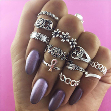 Tocona 11pcs/Set Vintage Punk Ring Set Hollow Flower Midi Finger Rings for Women Bohemia Carving Leaf Sliver Gold 4091