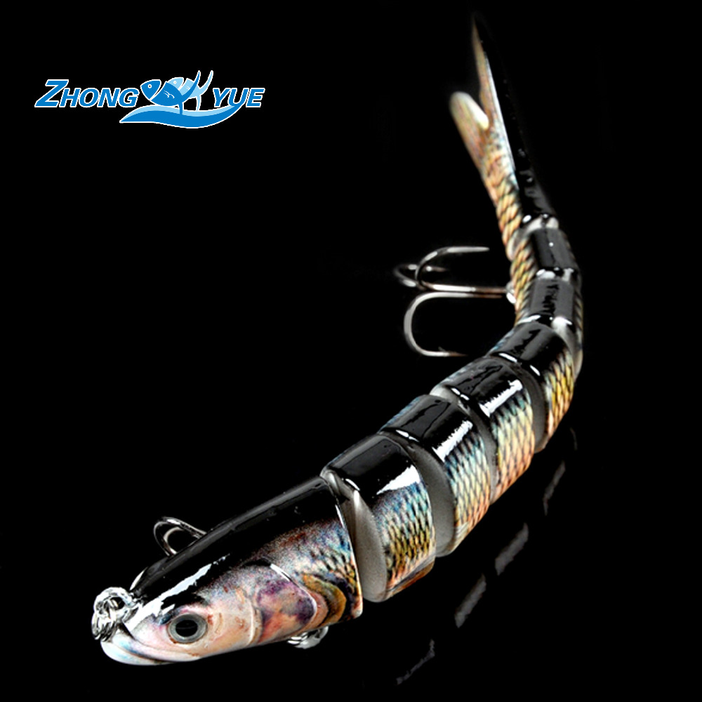 14cm 3D Eyes Lifelike Fishing Lure With Treble Hooks 8 Jointed Sections Swimbait Hard Bait Isca Artificial Lures Fishing Tackle 1pcs fishing lure bait minnow with treble hook isca artificial bass fishing tackle sea japan fishing lure 3d eyes