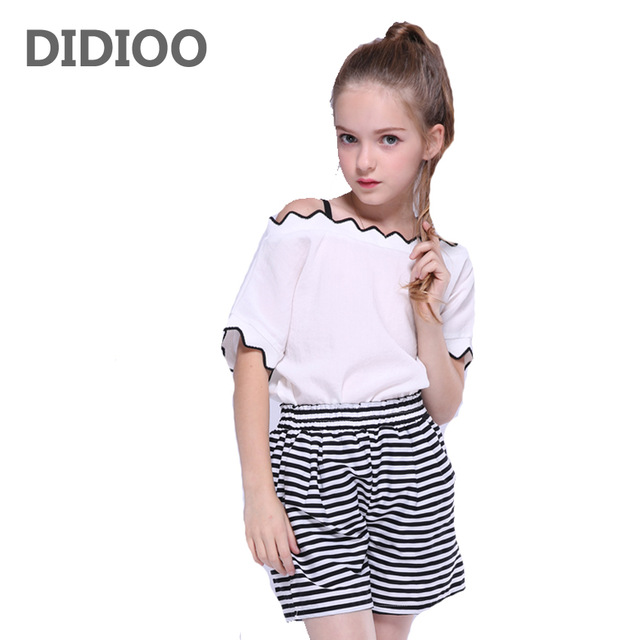 994d2e718b Children Outfits Girls Summer Clothes Sets Kids White Tops & Stripe Shorts  Suits Girls Off Shoulder T-shirts Pants 8 10 12 Years