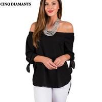 CINQ DIAMANTS Donna Nero Top Camicia 3/4 Manica Camicetta Slash Neck Off Spalla Top Donne Abbigliamento Casual Mujer Ropa poleras