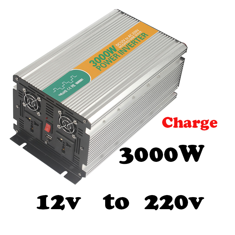 3000W 12v to 220v solar inverter without battery 3kw power inverter with charger  off grid 3000w inverter ac dc inverter 100w 12v monocrystalline solar panel for 12v battery rv boat car home solar power