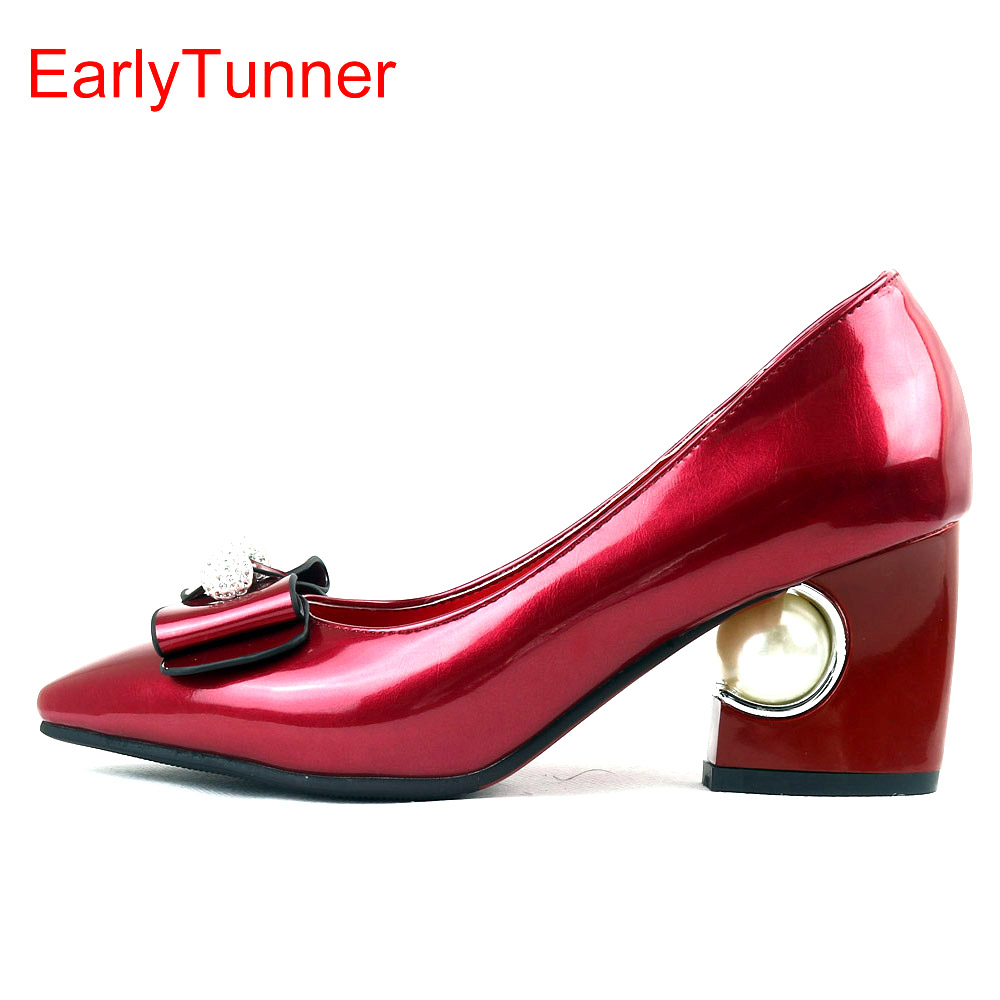 Sales Brand New Fashion Glossy Women Formal Pumps Beige Red Pink Black <font><b>Sexy</b></font> Lady Wedding <font><b>Shoes</b></font> EY6s Pearl Plus Big Size 12 31 48 image