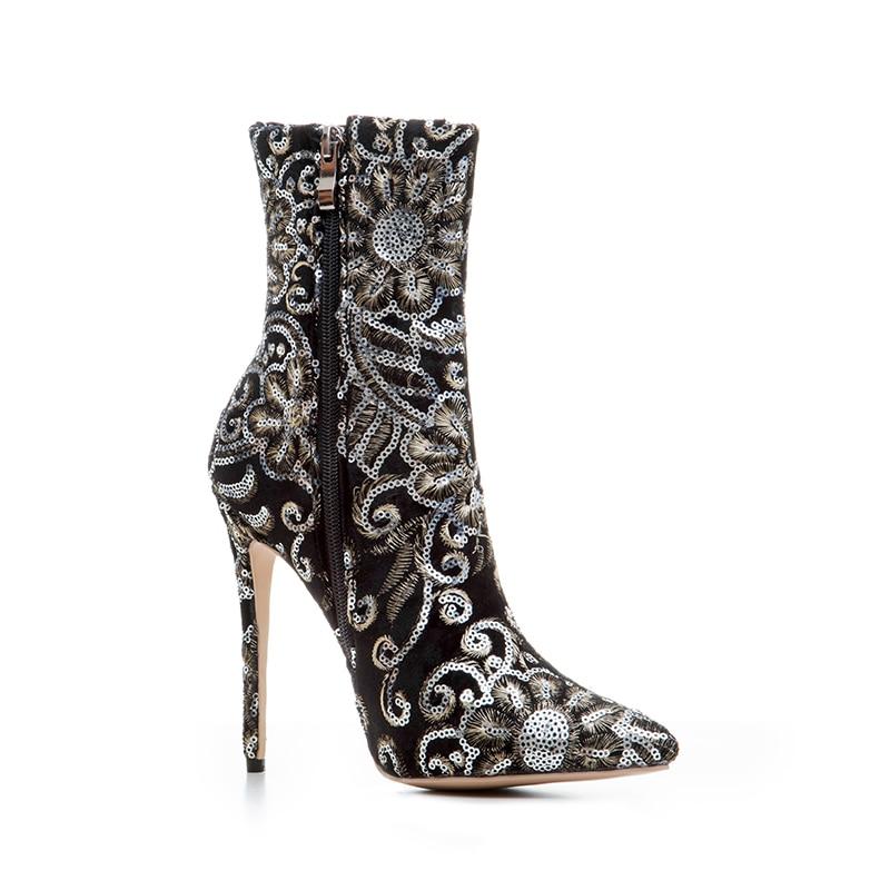 Broderie 2017 Mode Pointu 43 Bottes Grande Vintage Femmes Noires Stiletto Chaussures Cheville Taille New Bout De À Odetina Noir Talons Hauts EHDI29