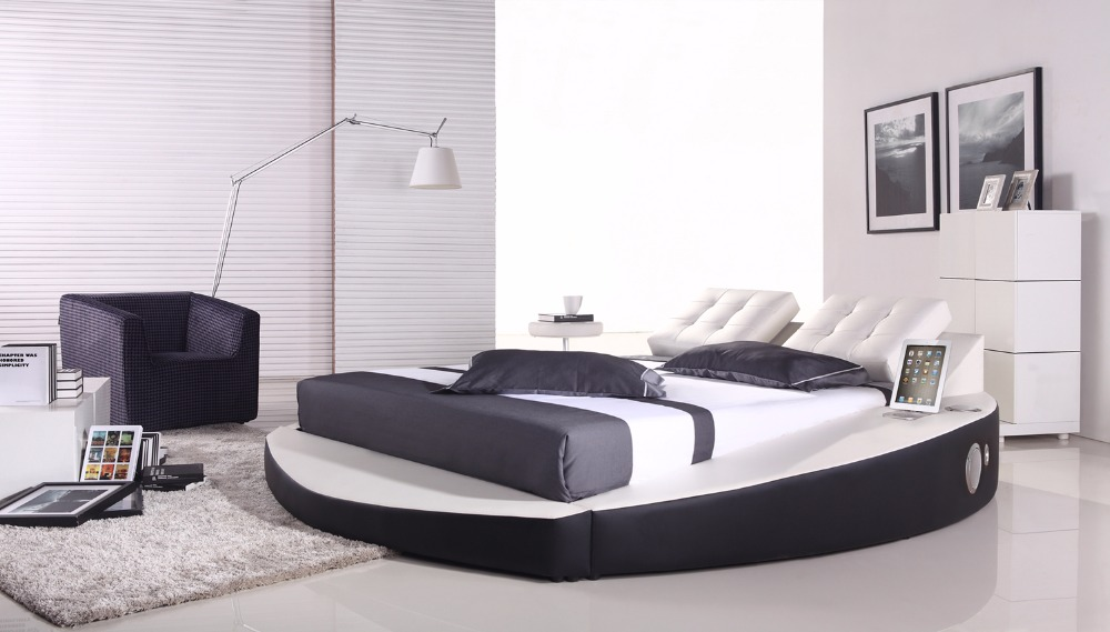 contemporary modern leather audio round bed King size bedroom furniture Made in China ноутбук prestigio smartbook 141a03 psb141a03bfwmbcis psb141a03bfwmbcis