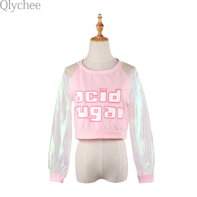 Qlychee Vogue Graphic Women T-Shirt Acid Sugar Letter Print Tee Laser Patchwork Long Sleeve Slim Barbie Pink Women Crop Top