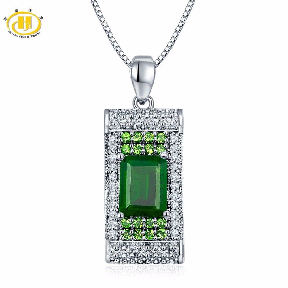 Hutang 2.82ct pierres précieuses naturelles Chrome Diopside & topaze solide 925 pendentif et collier en argent Sterling bijoux fins pour les femmes