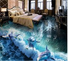 Custom 3D Painting Floor Wallpaper PVC Adhesive Dolphin Wave 3D Bathroom Living Room Flooring Painting 3D Wallpaper цена 2017