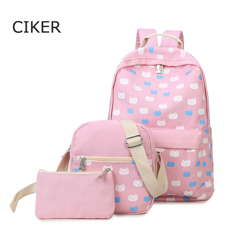 CIKER 3pscs set mochilas escolar Fahsion cat printing backpacks for teenager girls school bags famous women