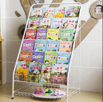 Children's bookshelf, iron art, magazine rack, floor - to - floor display, newspaper, newspaper and newspaper shelves