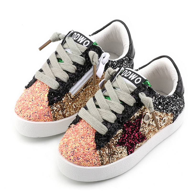 Children Toddler Baby Glitter Shoes Girls Star White Sneakers Boys Sport Shoe Kid Causal Trainer Sequin Shoes Flat EU 21-37