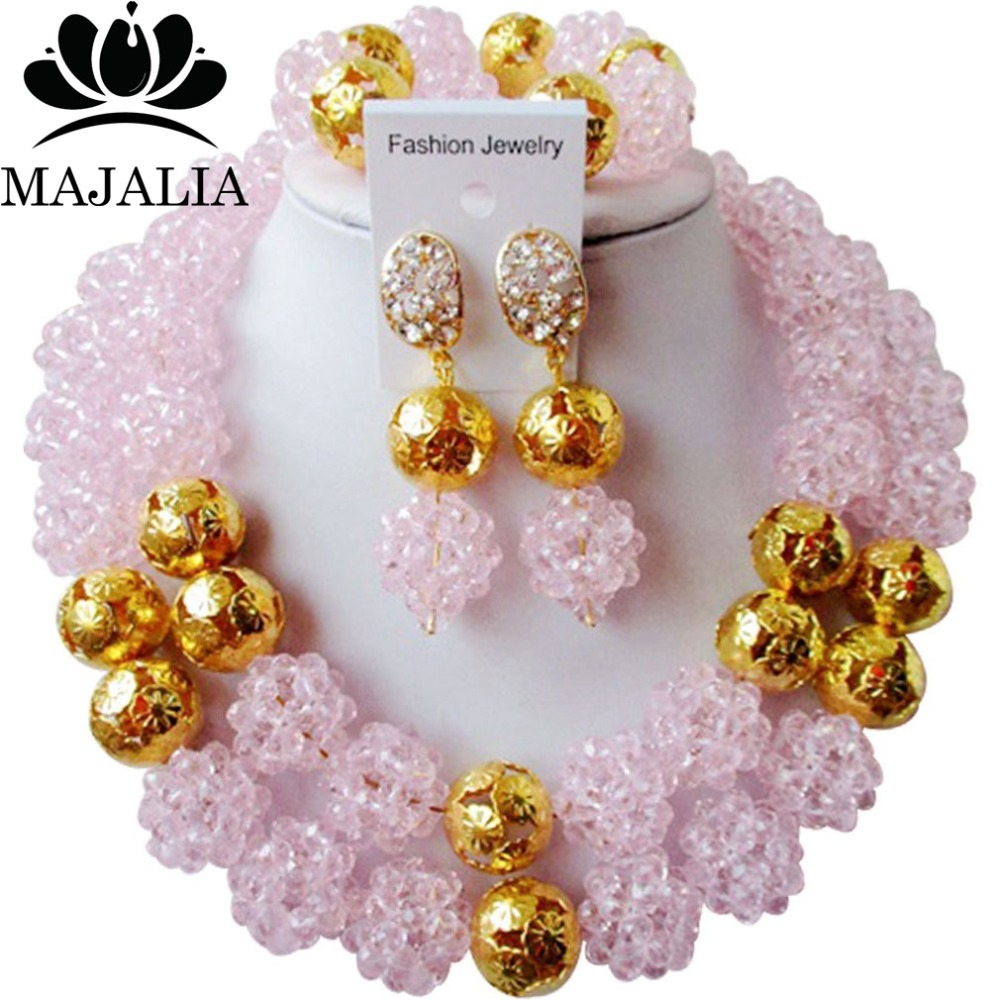 Majalia Classic Nigerian Wedding African Jewelry Set Pink Crystal Bead Necklace Bride Jewelry Sets Free Shipping 2JS034Majalia Classic Nigerian Wedding African Jewelry Set Pink Crystal Bead Necklace Bride Jewelry Sets Free Shipping 2JS034