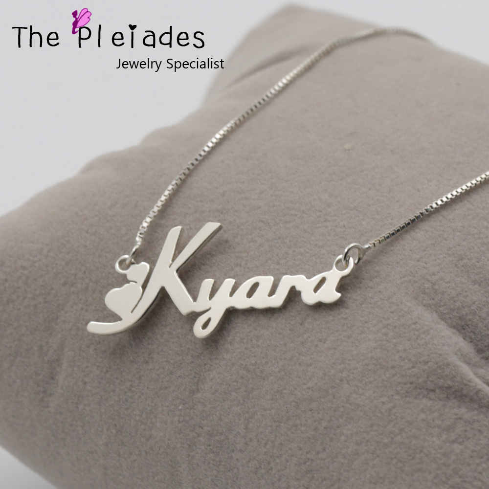 Cute Girl Name Necklace Customized With Any Letters Pretty Heart Style Nameplate Pendent 925 Solid Silver Jewelry