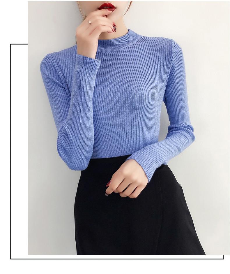 Shiny Lurex Autumn Winter Sweater Women Long Sleeve Pullover Women Basic Sweaters Turtleneck 19 Korean Style Knit Tops Femme 17