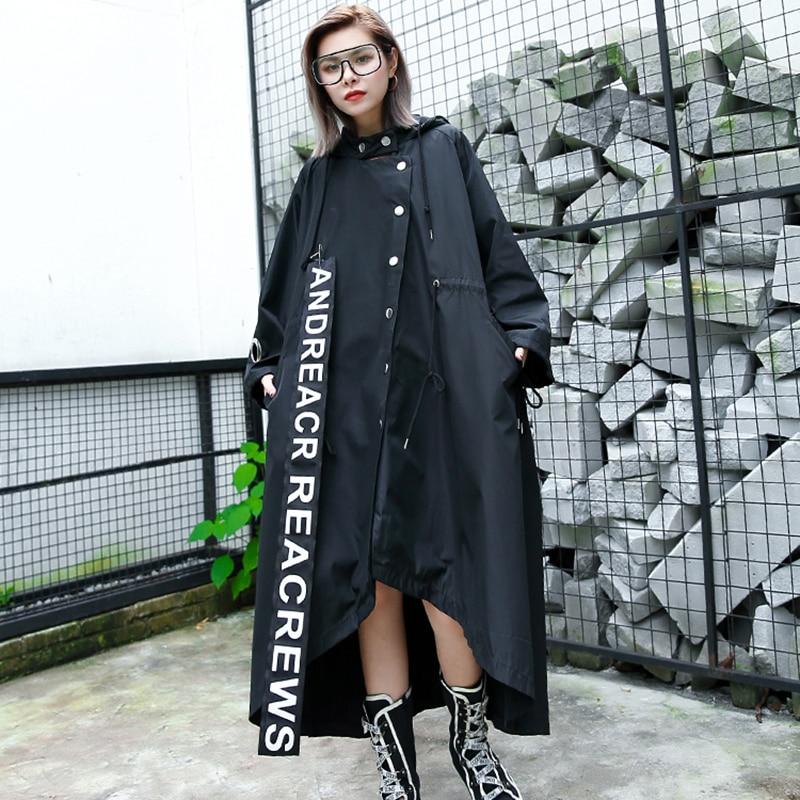 Mode Anime 2019 Pour Streetwear Printemps Black Long Surdimensionné Cartoon À coat Imprimer Patch Trench Capuche Femmes Nouveauté Manteau rrxUdfqw8