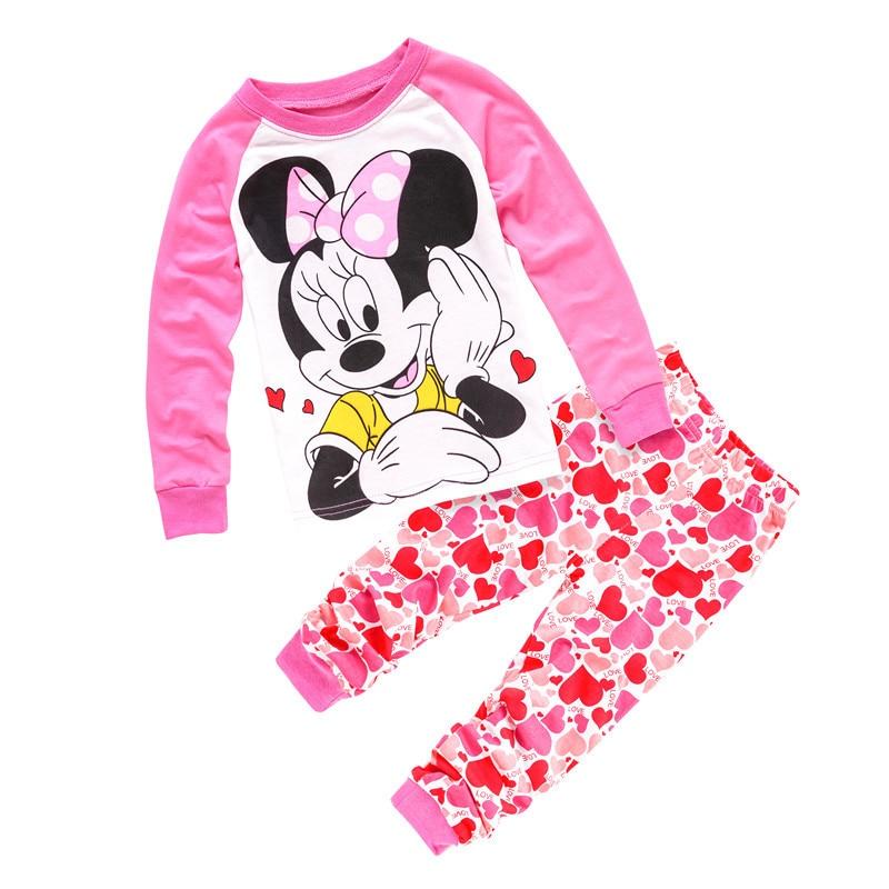 Hot sale Kids cartoon Pyjamas despicable me Minnie shape Cotton Pajamas baby girls Children clothing sets Sleepwear Pijamas