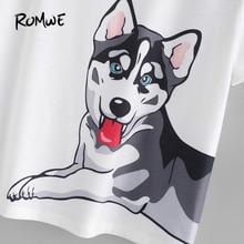 ROMWE Dog Print Multicolour Tee Shirt And Shorts Pyjama Set