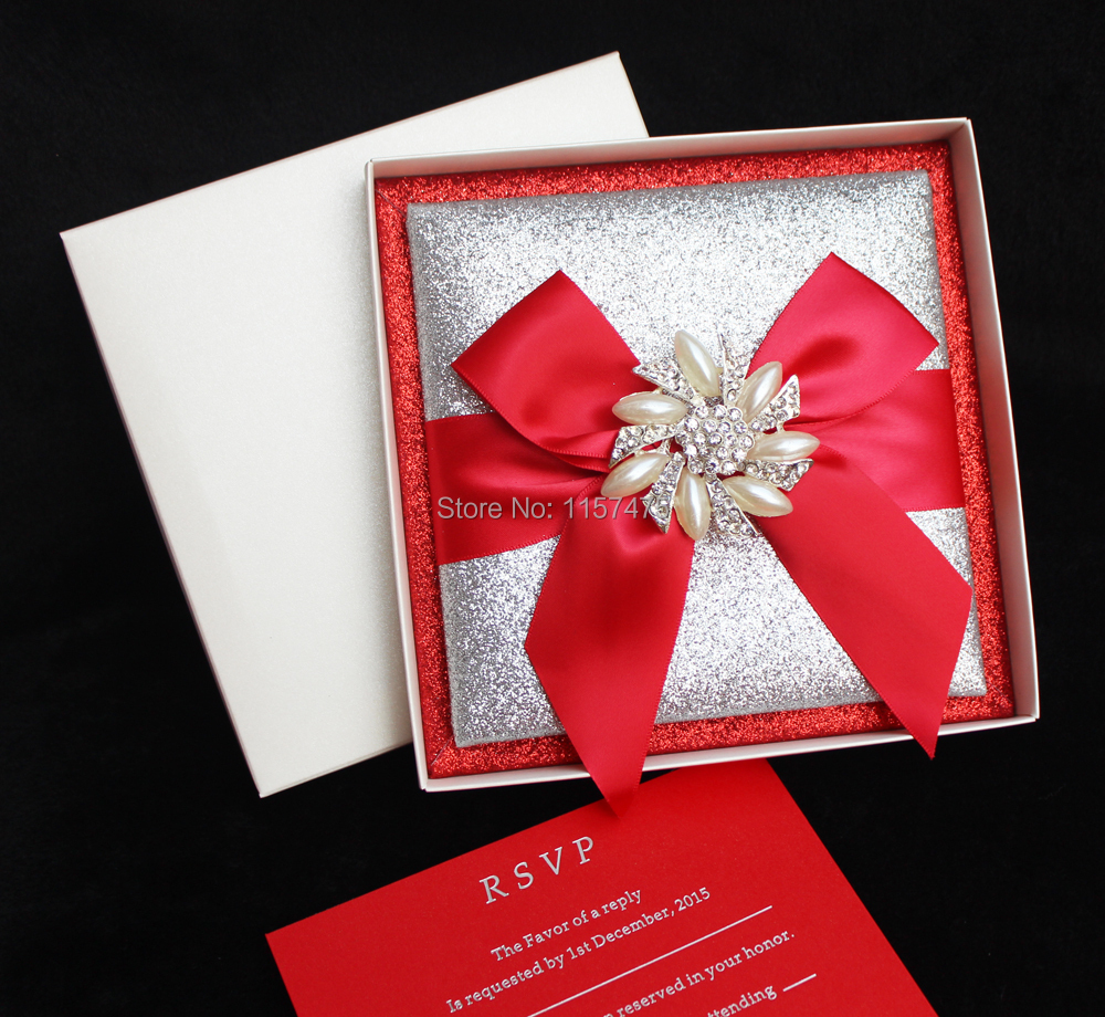 HI1108 Luxury Customized Glitter Wedding Invitation with ...