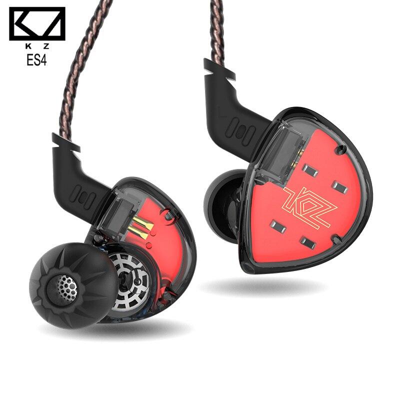 2018 new KZ ES4 BA +DD Hybrid In Ear Earphone HIFI DJ Monito Running Sport Earphones Headset Earbud KZ ZSR zst ZS6 KZ ZS10 2pin in stock zs5 2dd 2ba hybrid in ear earphone hifi dj monito bass running sport headphone headset earbud fone de ouvid for xiomi