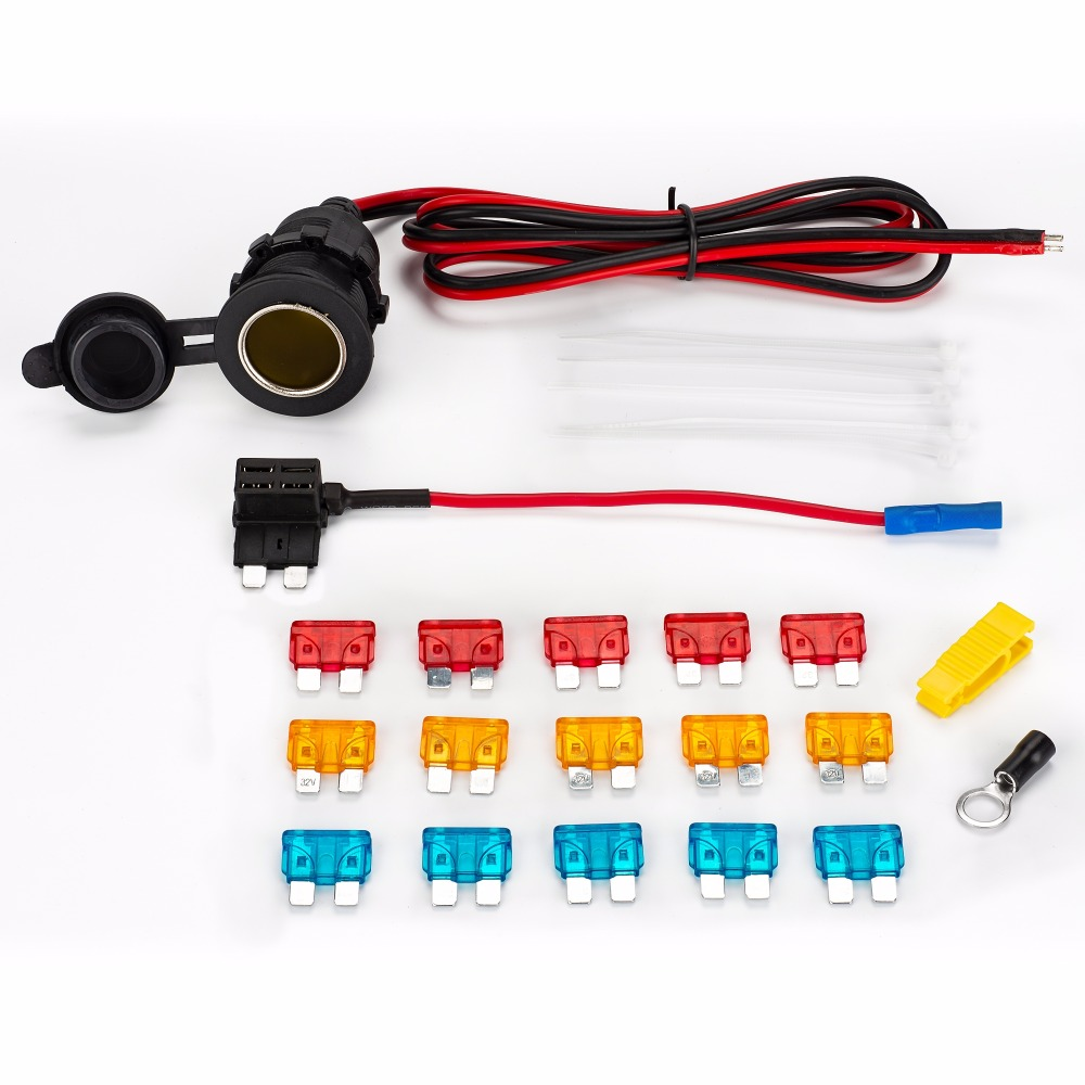 Universal DC12v impermeable coche cigarrillo encendedor cable de extensión cable y fusible tap & 5A/10A/15A fusible cable tie kit completo M/S/MINI