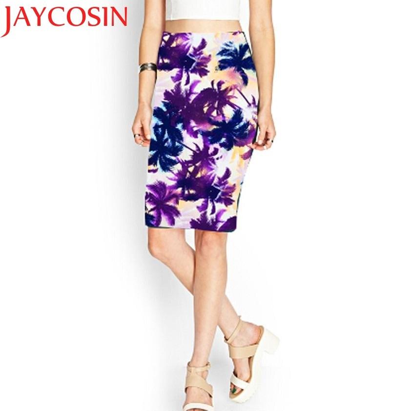 Women Pencil Midi Knee-Length Elastic High Waist Printing Skirt JAN 18