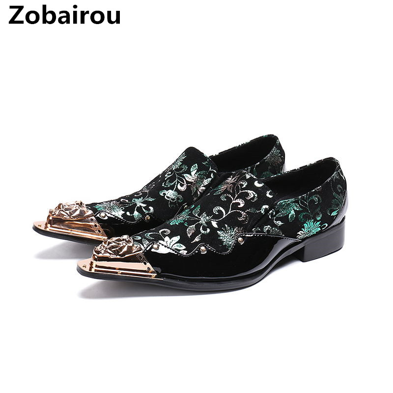 Classic sapato social masculino elegant floral men dress shoes gold steel toe loafers suit brogues office italian shoes  Classic sapato social masculino elegant floral men dress shoes gold steel toe loafers suit brogues office italian shoes