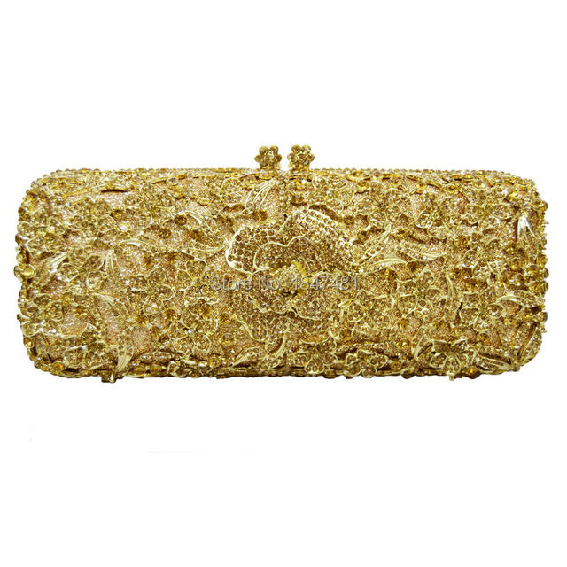 LaiSC long flower with chain women clutch bags Plated Metal purse luxury crystal evening bag ladies party bag sac pochette SC150