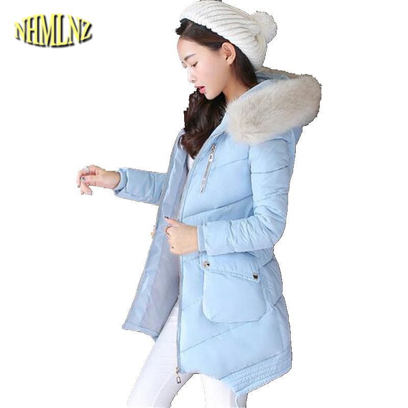 Big yards Winter Coat Thick Warm Fur collar Hooded Cotton Jacket New Style Slim Women Jacket Medium long Casual Office Coat 2647 цены онлайн