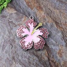 Free Shipping 10pcs/lot Rhinestone Pendant Bubblegum Necklace DIY Making Hibisci Flower Pendant