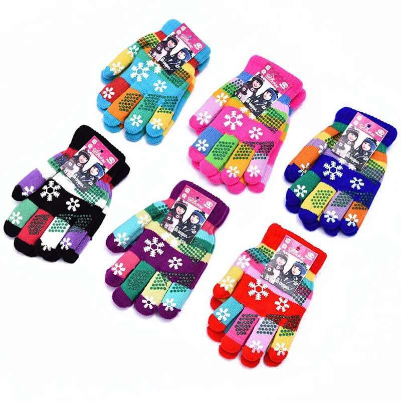 1 par de manoplas tejidas de doble capa de copo de nieve de colores gruesos para niños y niñas de otoño e invierno de Color aleatorio