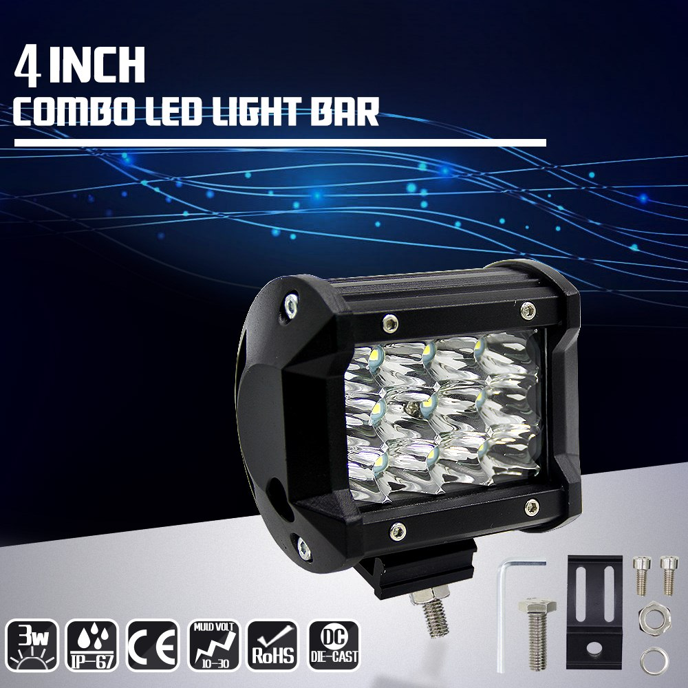 Image 5 - 4 Inch 36W Three Rows Car Work Light Modified Off Road Roof Light Daytime Running Lights Car Styling  Front Light Led Light Bar-in Car Light Assembly from Automobiles & Motorcycles