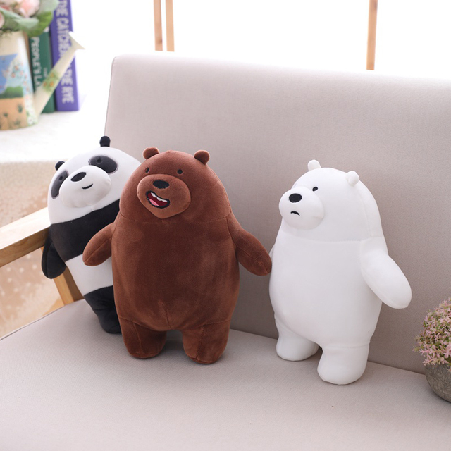 3 pçs/lote 27 Kawaii cinco centímetros Nós Nua Grizzly Bears Plush Toy Dos Desenhos Animados do Urso de Pelúcia Urso Branco Cinza Boneca Panda Crianças presente de Aniversário amor