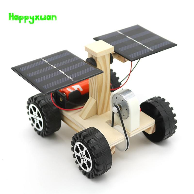 Happyxuan Wooden Lunar Rover Model Students Diy Science Materials Kits Solar Battery Hybrid Car Kids Fun