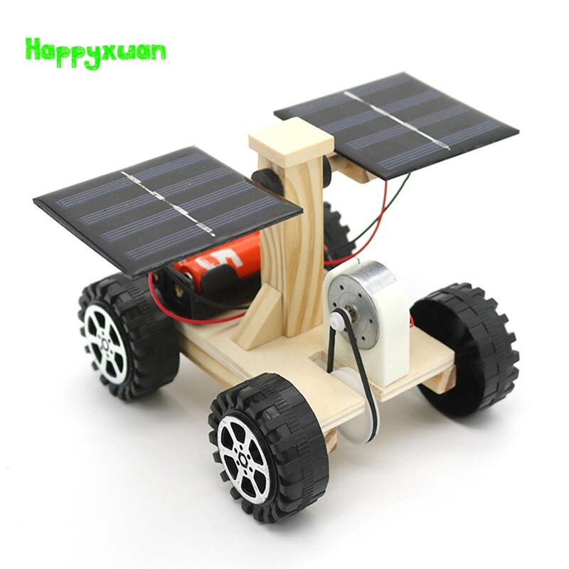 Happyxuan di Legno Lunar Rover Modello Studenti Scienza Fai Da Te Materiali Kit Solare Batteria Auto Ibrida Bambini Divertente Scienza Esperimenti Giocattolo