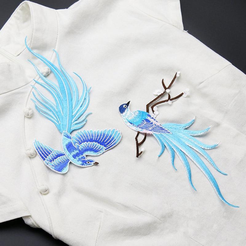 Blau Vogel von paradise Patches Spitze Stoff Stickerei Patches ...