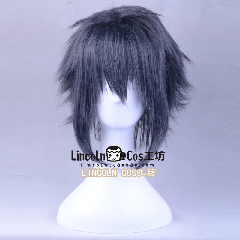 FF15 Final Fantasy XV Noctis Lucis Caelum Dark Blue Mixed Color Hairwear Cosplay Short Hair Halloween Unisex
