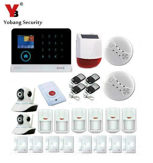 Yobang sécurité Android IOS WIFI GSM système d'alarme de sécurité à domicile avec énergie solaire sirène stroboscopique extérieure caméra HD moniteur intelligent