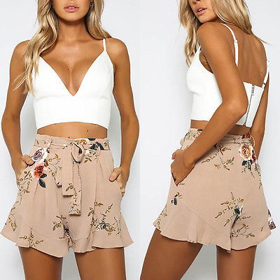 Shorts floral print loose belt 1