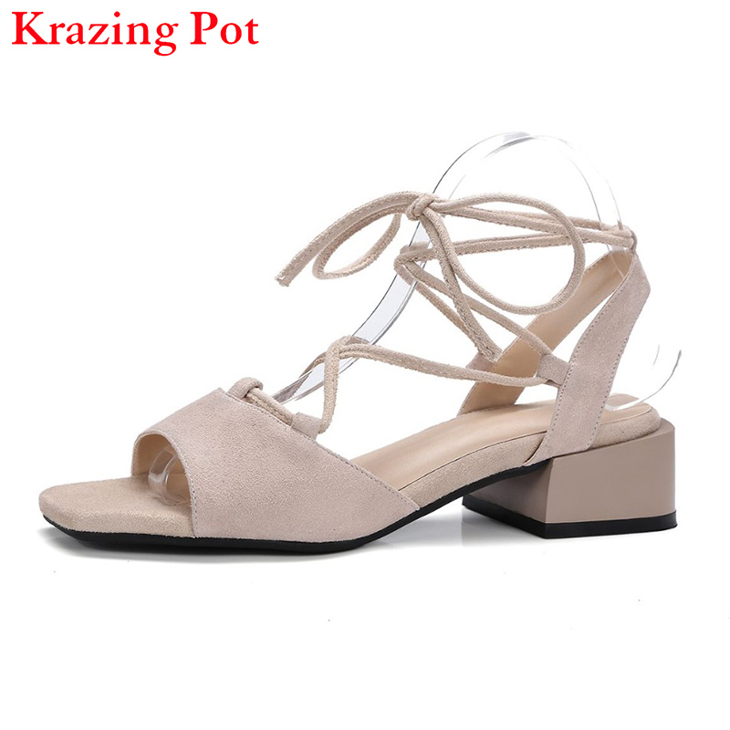 Shoes Woman Gladiator Peep Toe Thick Heel Women Sandals Genuine Leather Superstar High Heels Nude Ankle Strap Summer Shoes L15