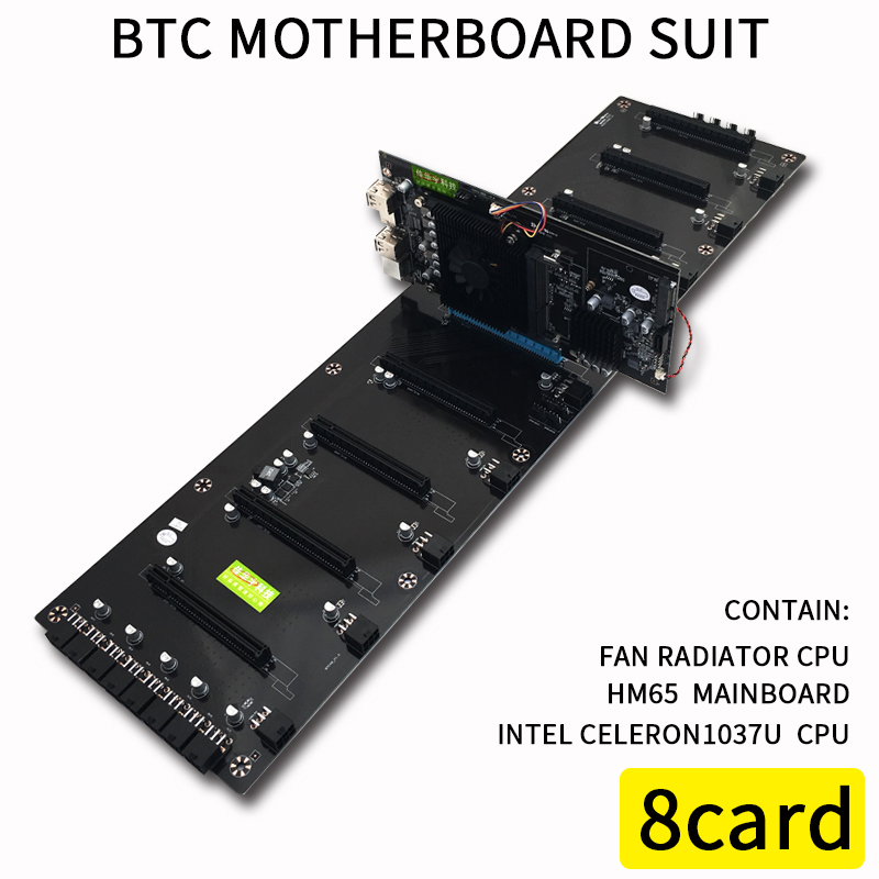 620*170mm 8 Graphics Cards Computer BTC Motherboard For Inter HM65 ATX DDR3 Professional Mainboard 8 PCI-E Mining Motherboard