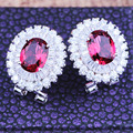 Exquisite White Gold Plated Round Shape Micro Inlay  AAA+ Cubic Zirconia Stud Earrings