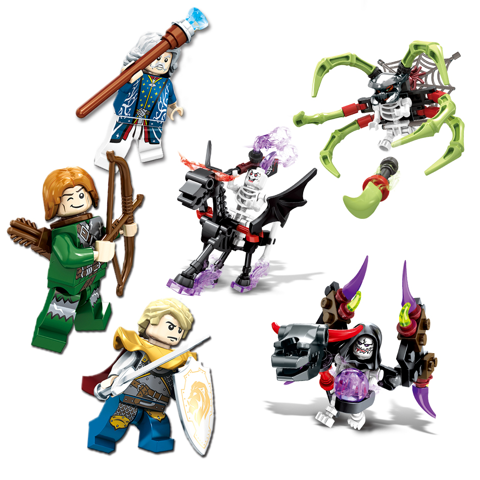 1set(8pcs) Knight Devil building blocks Compatible Legoed Ghost Tribes series figures war enlighten bricks hot toy for children miwind 100
