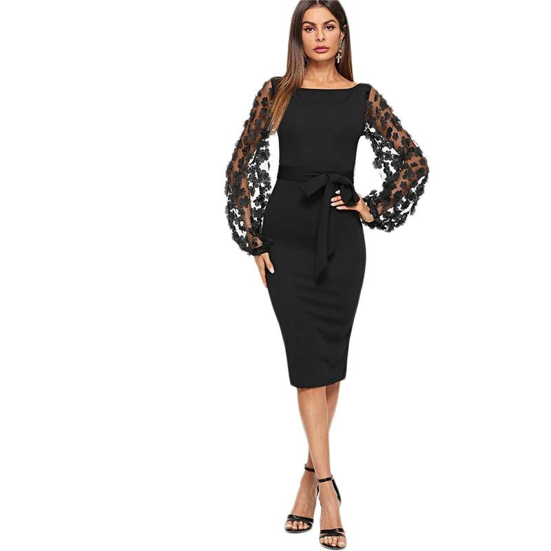 Черное Платье С Цветами На Рукавах