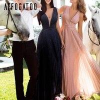 Affogatoo Sexy V neck pleated maxi evening party dress women plus size female long lace dress Elegant ladies pink summer dresses