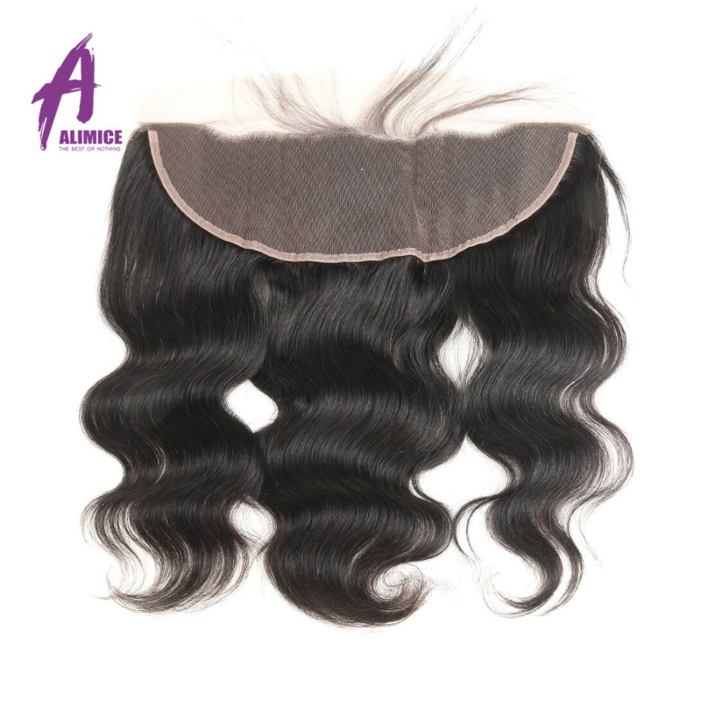 Alimice Lace Frontal Closure Indian Hair Body Wave 13x4 FreeMiddleThreeSide Part Human Hair Closure With Baby Hair 8-24inch (21)